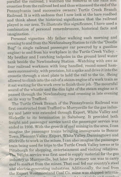 A nice write up from the Delmont Salem News 9/16/2015 about the old railway.