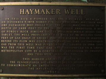 The Haymaker Gas Well marker. The reason the rail line was built.