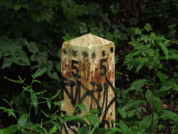 2013: Old mile marker. Five miles out of Trafford.