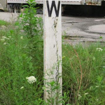 "2013: Coming into Murrysville. The ""Whistle"" sign before the Trafford Road crossing."